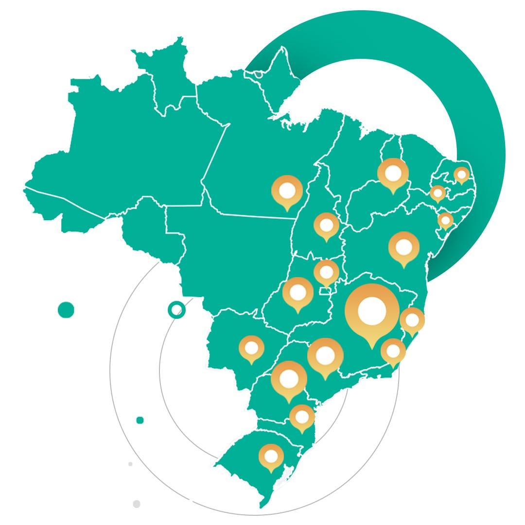 Mapa de Atuação Brasil Pluri Sistemas